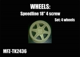 Transkit 1/24 MF Zone - Speedline wheels 6 spoke 4 screw (4 piece)