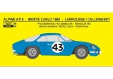 Decal 1/24 Reji model - Alpine A 110 - RMC 1968 or Course 1970