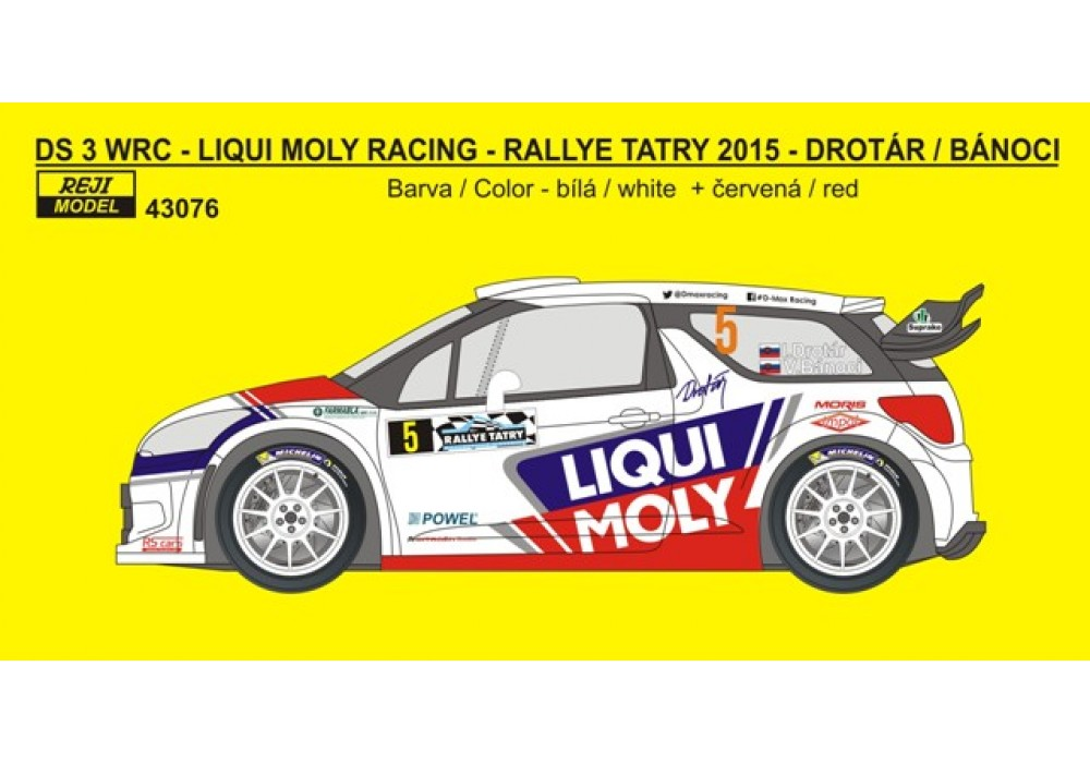 Decal 1/43 Reji Model - Citroen DS3 WRC - Rally Tatry 2015/ Drotár