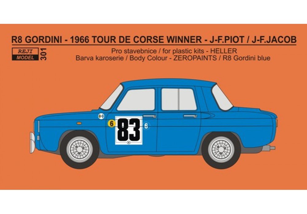 Decal 1/24 - Renault R8 Gordini - Tour De Corse 1966 winner - Piot / Jacob