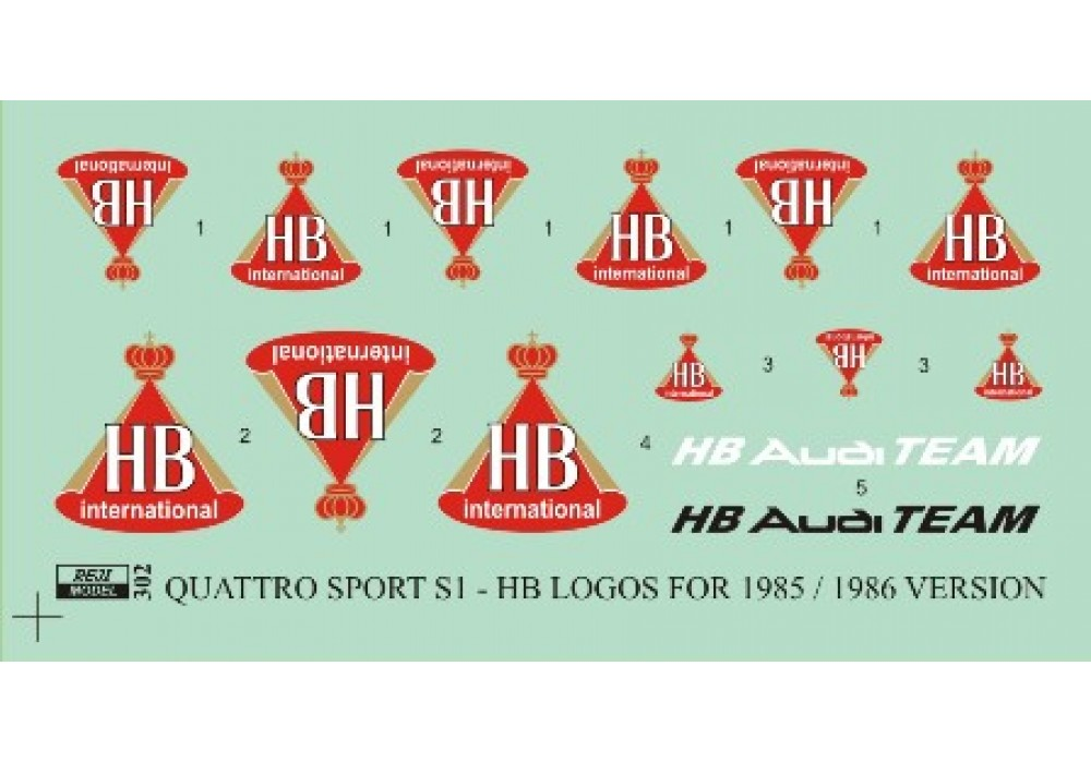 Decal 1/24 Reji - Audi Quattro Sport S1 version 1985/1986 - HB logos