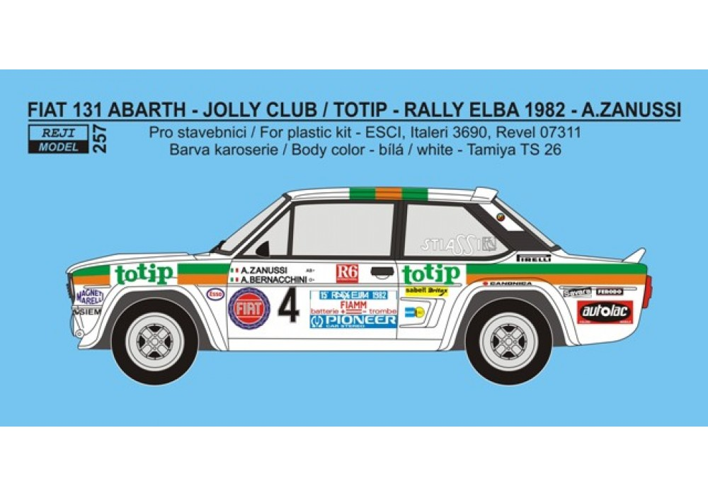 "Decal 1/24 - Fiat 131 Abarth ""Totip"" - Rallye Elba / R.A.C.E. Rally 1982"