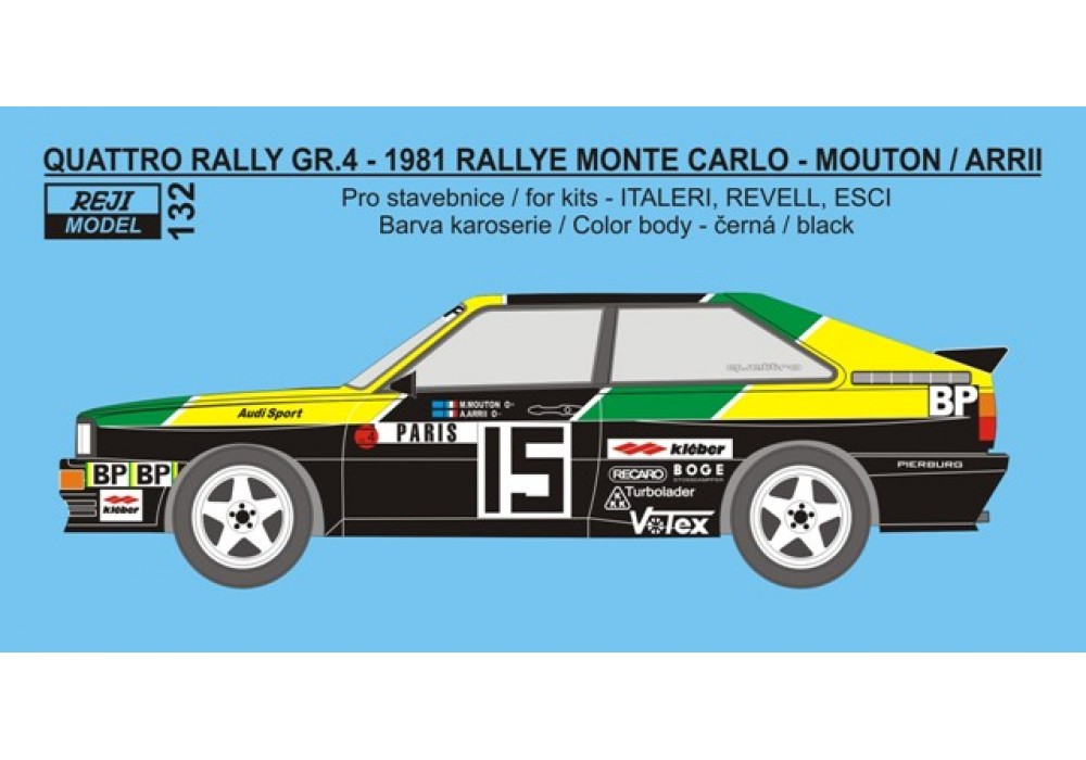 "Decal 1/24 - Audi Quattro Rally ""BP"" - Rally Monte Carlo 1981 – Mouton / Arrii"