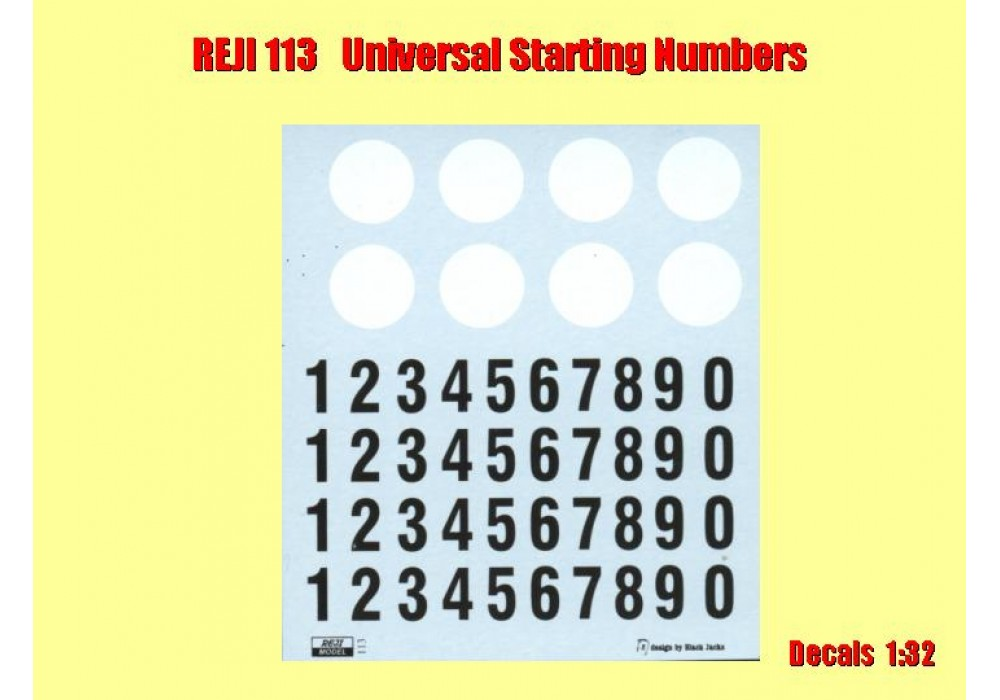 Decal 1/32 Reji model - starting numbers - oldies black with white round plate