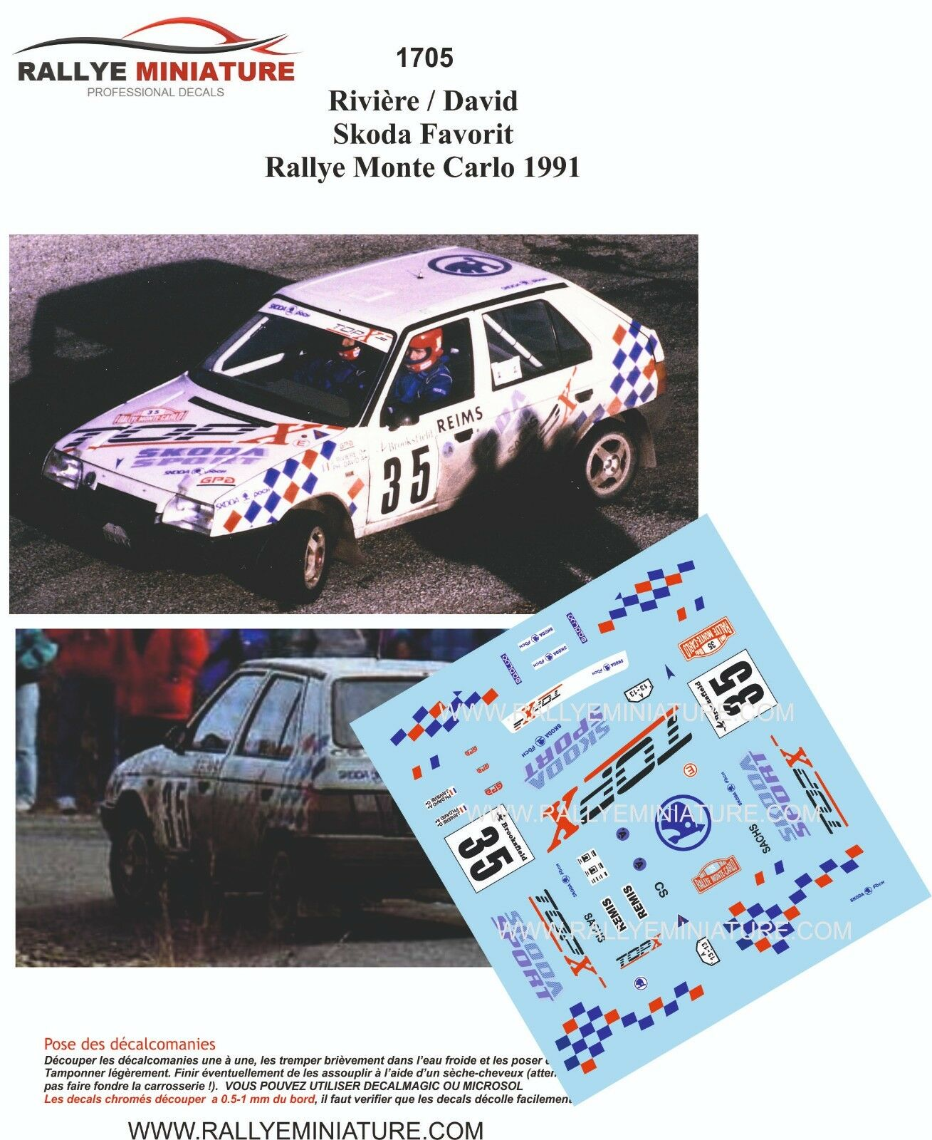 Decals 1/43 Škoda Favorit - Rally Monte Carlo 1991/ Riviere, David